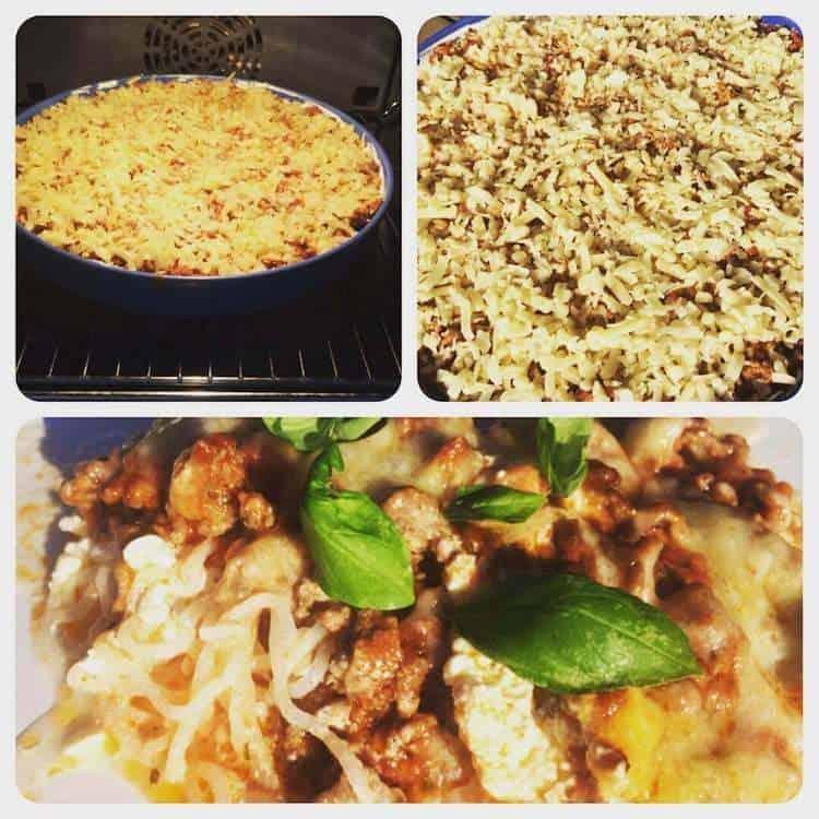 Lasagne på spaghetti, keso och cheddarost